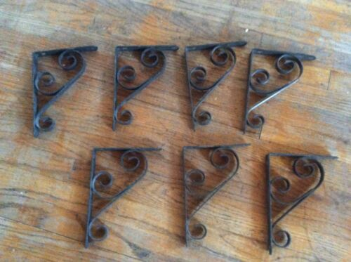 VINTAGE WROUGHT IRON metal black SCROLLED SHELF wall BRACKETS