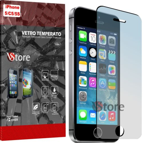 Pellicola in Vetro Temperato Per iPhone 5S 5 5C Proteggi Salva Display LCD 4,0""