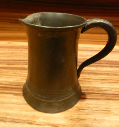 """Superb antique english Pewter mug marked 4"""" minor issues [Y8-W6-A9]"""