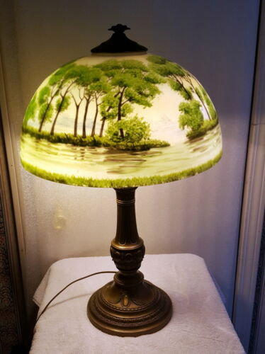 Antique Reverse Painted Lamp - Forest Scene
