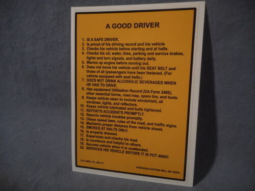 A GOOD DRIVER does not drink alcohol Label Sticker Decal M151 M715 M998 M35 CUCVOther Militaria - 135