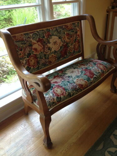 Early 20th C. Settee Country Antique Floral Upholstered Love Seat