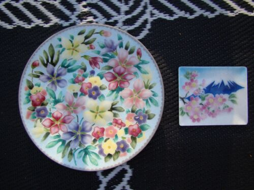 ANDO CLOISONNE FLORAL  JAPANESE PLATE PLUS A SMALLER PLATE