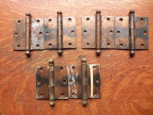 Six Victorian Vintage Antique Copper-Flashed Door Hinges by Stanley 3 1/2""