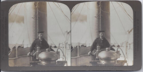 1900s H. C. WHITE STEREOVIEW MAN AT THE WHEEL S.S. COLUMBIA MID OCEAN
