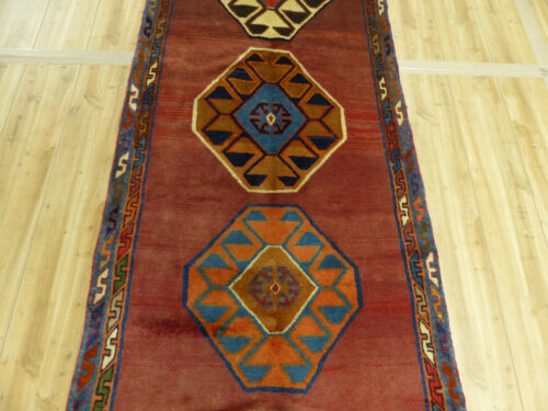 """3'5""""x10' Old Antique Persian abrashed Geometric Shiraz Oriental area rug runner"""