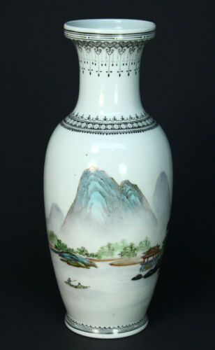 *ea.1900's Signed Chinese Fine White Porcelain Hand Painted Flower Vase 10.25""