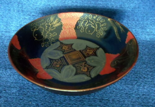 "ANTIQUE CHINESE HAND MADE LACQUER WOODEN BOWL Black, Red Gold Design 6 3/4"" Dia."
