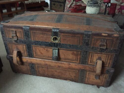 Antique Leather Bound Trunk