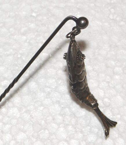 Hennegen, Bates Sterling articulated fish stick pin antique w original box
