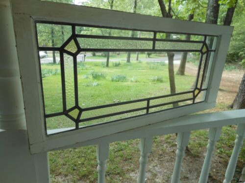 LAM-322 Older Pretty Transom Style English Leaded Stain Glass Window 5 Available