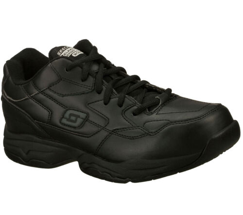 77032 EW Wide Width Black Skechers shoe Memory Foam Work Men Slip Resistant Soft