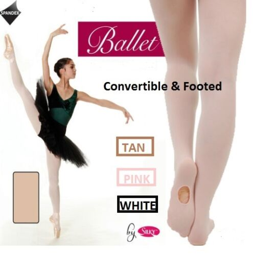Girls Convertible/Footless/ Footed Ballet Silky Tights Pink,White,Tan,black