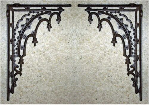 2 Antique Style Cast Iron GOTHIC SHELF WALL CORNER BRACKETS ~ RENAISSANCE~