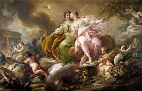Boucher Oil painting Goddess and Cupid Wall picture art printed on canvas L1359