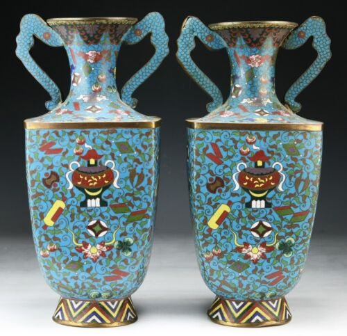 PAIR OF CHINESE CLOISONNÉ ENAMEL VASES, LATE QING DYNASTY