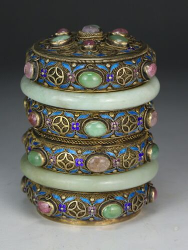 A CHINESE ANTIQUE JEWELED CLOISONNE LIDDED TEA CAN, QING DYNASTY