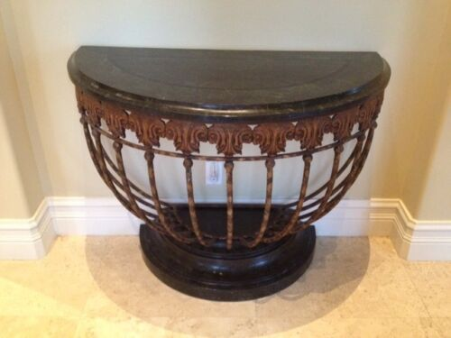 Marble and Metal European style Demilune Tables
