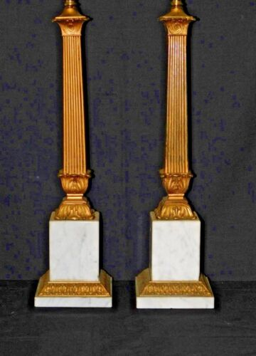 Pair ANTIQUE Neoclassical Brass or Bronze & Marble Columnar Table Lamps