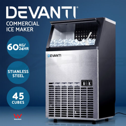 Devanti Commercial Ice Maker Machine Portable Ice Cube Tray Stainless Steel <br/> 45 Cubes / Self-Cleaning / 60KG/24HR / LED Display