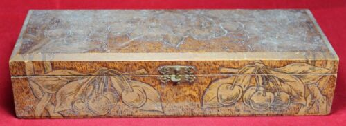 Pyrography Flemish 681 Hinged Wood Box w/ Cherries - Wood Burn - Vintage