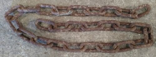 "Vintage Rusty Farm Chain - Steampunk - 50 Inches - 26 - 2 1/2"" Links"
