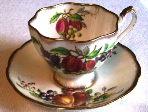"QUEEN ANNE  ""FRUIT SERIES""  FLUTED TEACUP AND SAUCER"