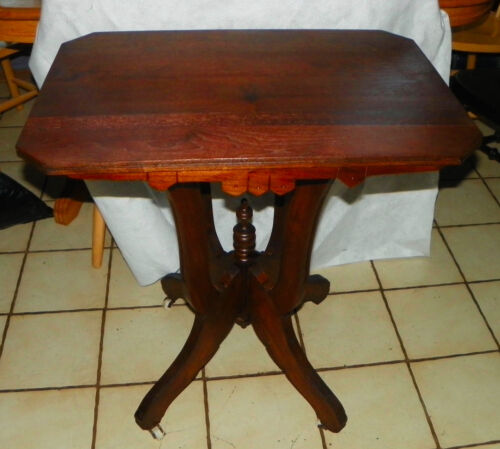 Solid Walnut Eastlake Lamp Table / Parlor Table  (T622)