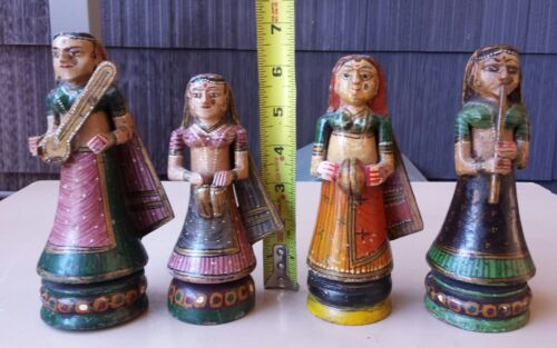 4 Wooden Hand Carved Painted Standing Musicians Figures w/issues read desc.