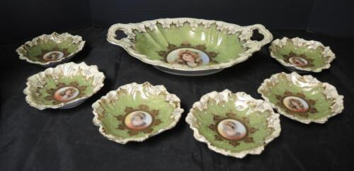 Incredible Antique Royal Wettin Germany Berry Set * Portrait Centers