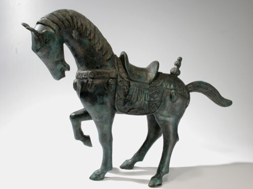 "Chinese Bronze Tang Horse Sculpture - 23"" Statue Vintage Export"