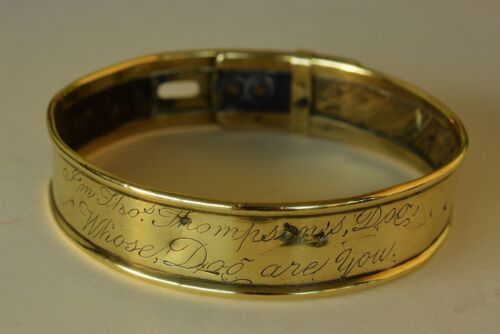 """Antique Brass Dog Collar ~ """"I'm Thos. Thompson's Dog Whose Dog Are You""""  ON SALE"""