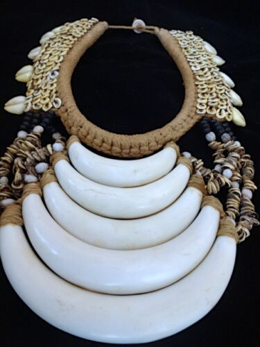 Art Jewelry Ethnic Stone Shell Necklace Hand Made Tribal Asmat Papua Trump Shell