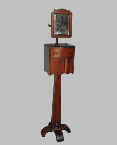 Victorian Antique Oak Shaving Stand with adjustable mirror