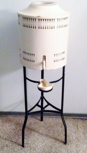 Vintage Art Deco Water Cooler Crock Stoneware Wrought Iron Stand & Metal Cover