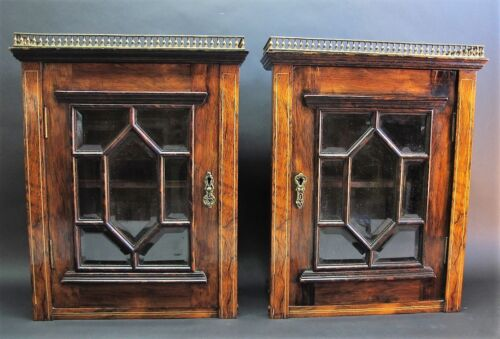 Fine Pair of 19th C. EDWARDIAN INLAID ROSEWOOD Wall Cabinets w/ Beveled Glass