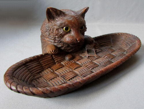 ANTIQUE 19th Century BLACK FOREST Hand Carved Wood CAT INKWELL w GLASS EYES 1890