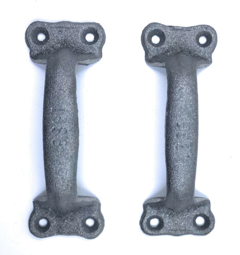 Cast Iron Antique Style Rustic Barn Gate Pull Shed Door Handles Set of 2 Black