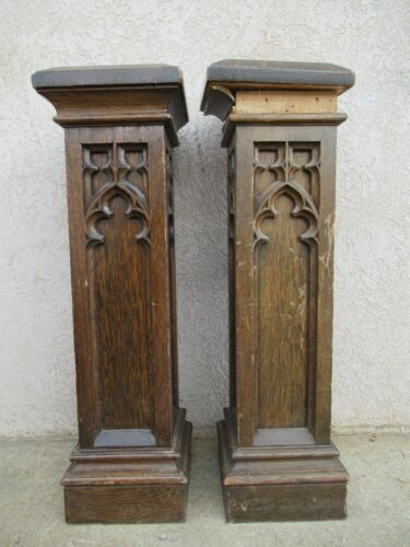 2 Antique Victorian Gothic Tiger Oak Carved Column Trim Architectural Salvage A