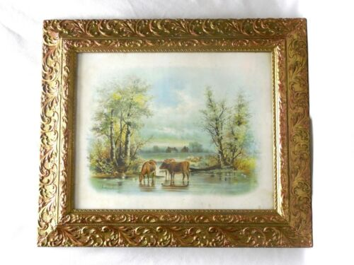 """Large Antique Ornate Gesso Frame w Glass CHANDLER Print 16"""" x 20"""" Cows Drinking"""