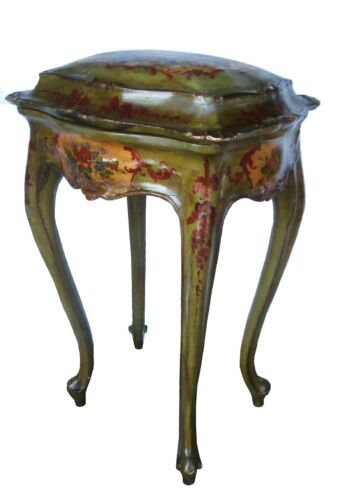 19C PERIOD ITALIAN LOUIS HAND PAINTED CARVED WOOD LIDDED SEWING OCCASIONAL TABLE