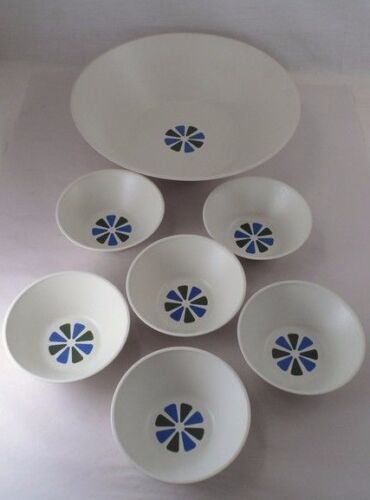 HTF 7 Pc David Douglas Acca Ware Mid Century Modern Atomic Star Salad Bowl Set