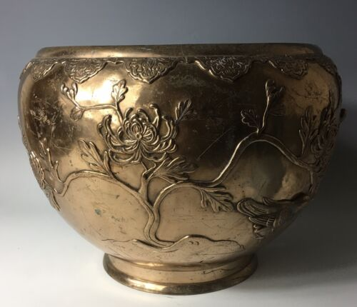 HUGE Gold Gilt Antique 19thC Meiji Japanese or Chinese Censer Bronze Bowl Vase
