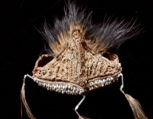 Primitive Papua Headdress With Beads And Feather Tribal Asmat Collectable Art