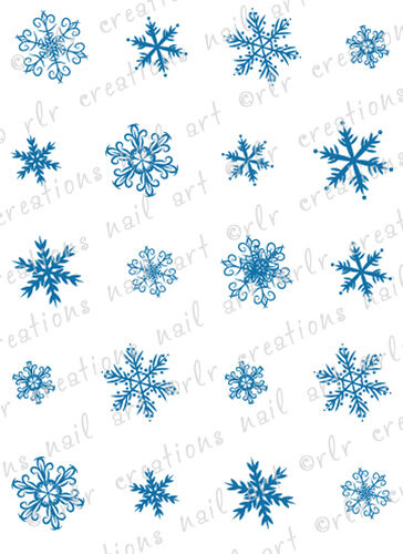 20 WINTER NAIL DECALS * SNOWFLAKE DOODLES ASSORTMENT* WATER SLIDE NAIL  DECAL
