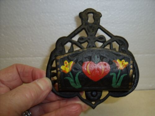 Vintage CAST IRON MANTLE MATCH BOX HOLDER W/ Hand Painted Folk Art Flowers
