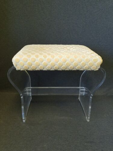 RARE 1970s Lucite Stool/ Ottoman by Hill's Manufacturing Hollywood Regency MCM