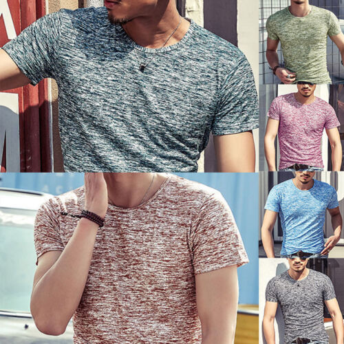 Fashion Men's Muscle Short Sleeve Shirt V-neck Casual Slim Fit T-shirt Tee Top