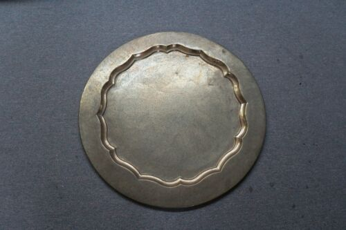 "VINTAGE 29"" ROUND ETCHED BRASS WITH ENAMEL INDIA TRAY TABLE TOP INDO SARNA"