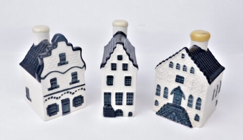KLM: 3 VINTAGE DUTCH DELFT BOLS CANAL HOUSES ( SEALED ) ,   Numbers: 1, 2 and 4